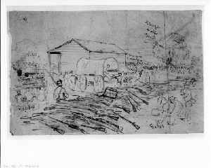 The Scene at Burkeville Station on the Southside Railroad (Capture of Petersburg)