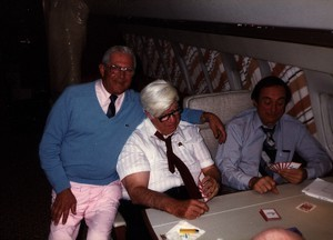 "Thomas P. O'Neill playing cards on the airplane with Walter ""Curley"" Probet and unidentified man"