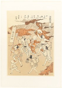 Chanting Farmers Praying for Rain from a series of the Four Social Classes, woodblock print, ink and color on paper