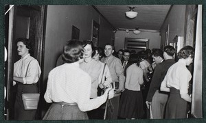 View of students interacting in hallway