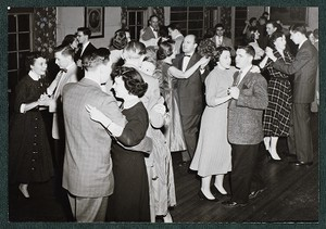 View of students dancing at a social event