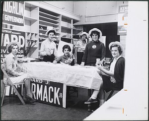 Boston College students at work in political campaign office
