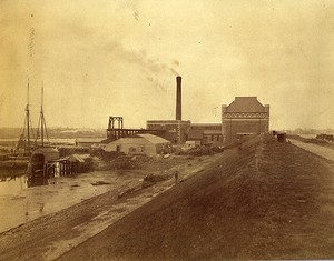 Conduit embankment and pumping station, looking toward Dorchester