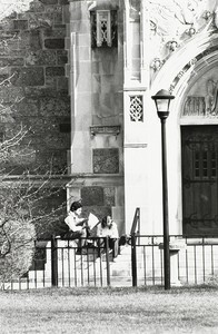 Students sitting on the Bapst Library steps