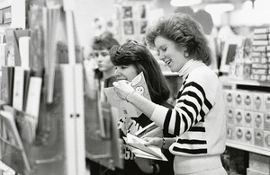 Boston College students shopping for greeting cards at a campus store