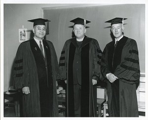 Honorary degree group: Bunche, Ralph, Michael Walsh, and Alec Guinness