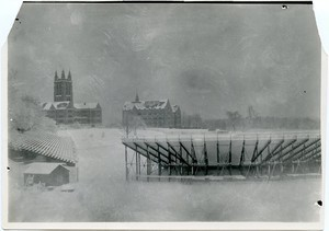 Alumni Field in winter with Gasson in background