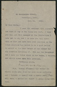 Letter, November 21, 1904, Thomas Wentworth Higginson to James Jeffrey Roche