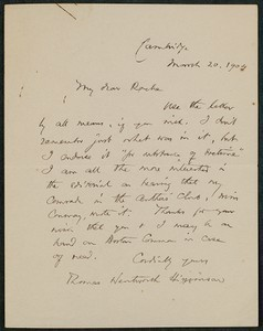 Letter, March 20, 1904 Thomas Wentworth Higginson to James Jeffrey Roche