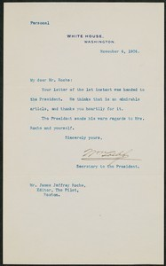 Letter, November 4, 1904, Theodore Roosevelt to James Jeffrey Roche