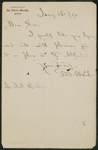 Letter, January 18, 1890, T.B. Aldrich to James Jeffrey Roche