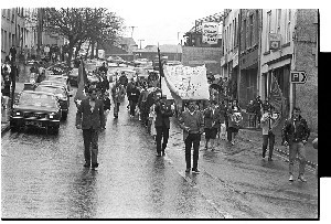 Sinn Fein parade and march, Downpatrick, including a shot of Danny Morrison, political spokesman
