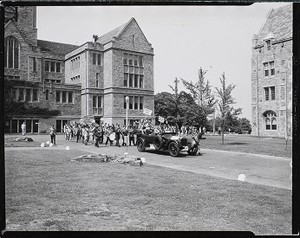 Alumni parade on Boston College campus