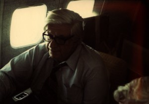 Thomas P. O'Neill seated in airplane