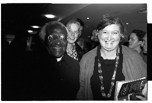 Archbishop Desmond Tutu, South Africa. Shots taken on the occasion of a lecture he gave in Belfast (CAJ meeting). Audience comprised of people active or interested in the peace process including Bernadette Devlin (McAliskey), Michelle Gildernew (SF) and Dr. Maurice Hayes, Chairman, Ireland Fund
