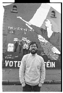 Extra shots of Gerry Adams, President of Sinn Fein, in confrontation with Mairead Corrigan, co-founder of the Peace People, in front of a Sinn Fein republican wall mural on the Falls Road, Belfast