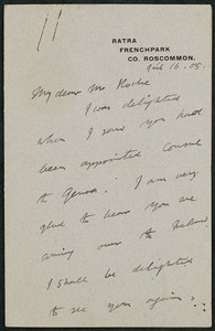 Letter, April 16, 1905, Douglas Hyde to James Jeffrey Roche