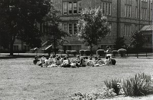 Students on the Bapst lawn, possibly during an outdoor class
