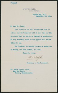 Letter, September 14, 1904, Theodore Roosevelt to James Jeffrey Roche