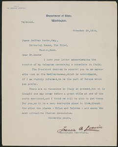 Letter, November 25, 1904, Theodore Roosevelt to James Jeffrey Roche