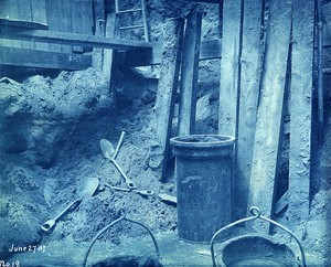 View of shovels and buckets in gasholder excavation at Commercial Point Station