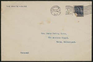 Envelope, November 27, 1907, Theodore Roosevelt to James Jeffrey Roche