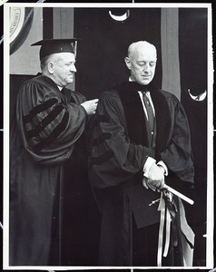 Alec Guinness receiving an honorary degree from President Michael Walsh