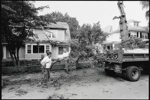 Hurricane Bob damage at Rahner and Faber Houses, 96 and 102 College Road