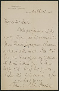 Letter, October 5, 1892, Francis A. Walker to James Jeffrey Roche