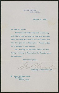 Letter, October 21, 1901, Theodore Roosevelt to James Jeffrey Roche
