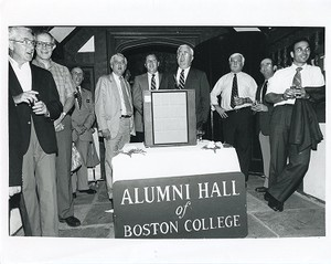 Alumni Hall closing ceremonies: Brian B. Sullivan, William Neenan, John F. Wissler, Joseph Warner, Richard T. Horan, Robert W. Kelly, Francis B. Campanella, John E. Joyce, and David Thomas