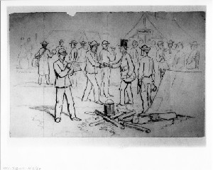 Political Agents Distributing Campaign Documents among the Soldiers in the Camps (Siege of Petersburg)