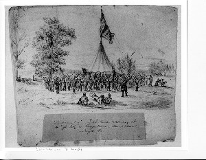 Col. Miller's Regiment of N.J. Militia Celebrating the 4th of July on Runyon Avenue Camp Princeton