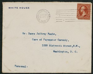 Envelope, April 13, 1902, Theodore Roosevelt to James Jeffrey Roche