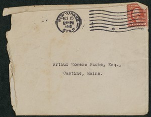 Envelope, October 15, 1915, Theodore Roosevelt to James Jeffrey Roche