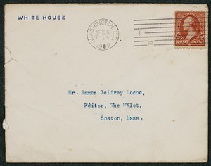 Envelope, April 6, 1902, Theodore Roosevelt to James Jeffrey Roche