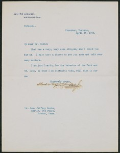 Letter, April 17, 1903, Theodore Roosevelt to James Jeffrey Roche