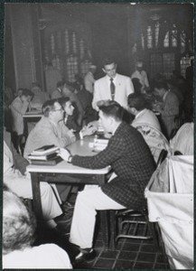 Members of the Boston College Class of 1956 studying, possibly at Bapst
