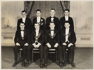 Class 1934. Occasion is unknown. Walter Flaherty - standing far right. Later he was a priest of the archdiocese