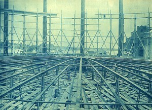 Framing of inner section; outer section begun, on staging set of wall of tank