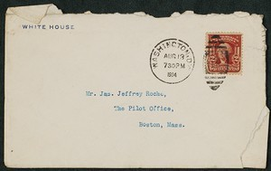 Envelope, August 13, 1904, Theodore Roosevelt to James Jeffrey Roche