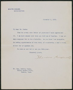 Letter, November 6, 1902, Theodore Roosevelt to James Jeffrey Roche