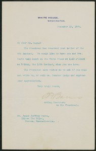 Letter, December 10, 1904, Theodore Roosevelt to James Jeffrey Roche