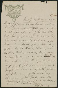 Letter, May 5, 1901, Peter Dunne to James Jeffrey Roche