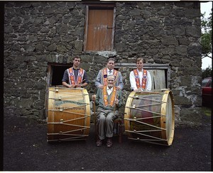 Brownlees Family Three generations from Ballymena, members of the Orange order, Lambeg drummers