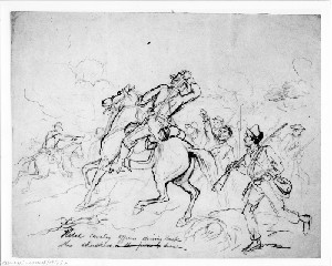 Rebel Cavalry Officers Driving Back the Skulkers