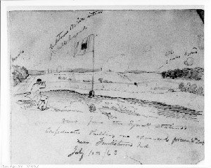 Confederates Shelling Our Advanced Forces near Funkstown, Maryland - View from the Signal Station