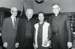 (L-R) Philip McNiff, Father Leonard, Dr. Y. T. Feng, and Father X.
