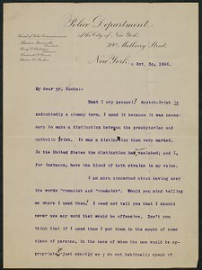 Letter, October 30, 1896, Theodore Roosevelt to James Jeffrey Roche