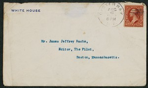 Envelope, August 6, 1902, Theodore Roosevelt to James Jeffrey Roche